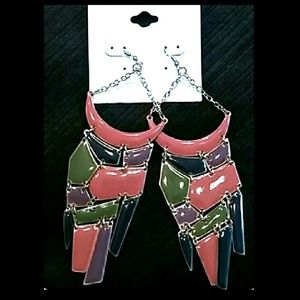 3/$30 Multi-Color Enamel Long Dangle Earrings